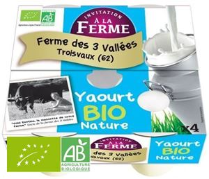 YAOURT NATURE 4X125G 3VALLEES (62) BIO